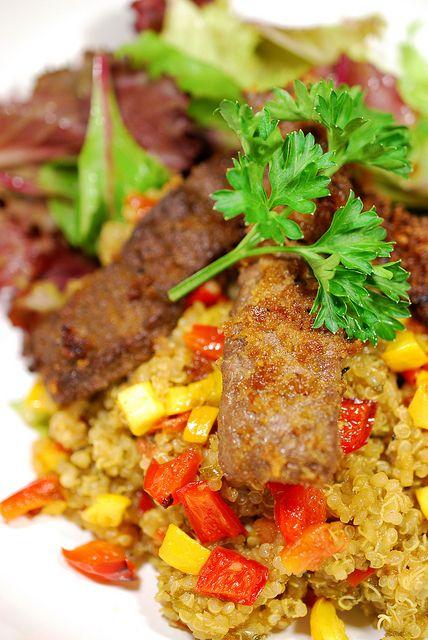 Milanesa Steak and Quinoa Salad