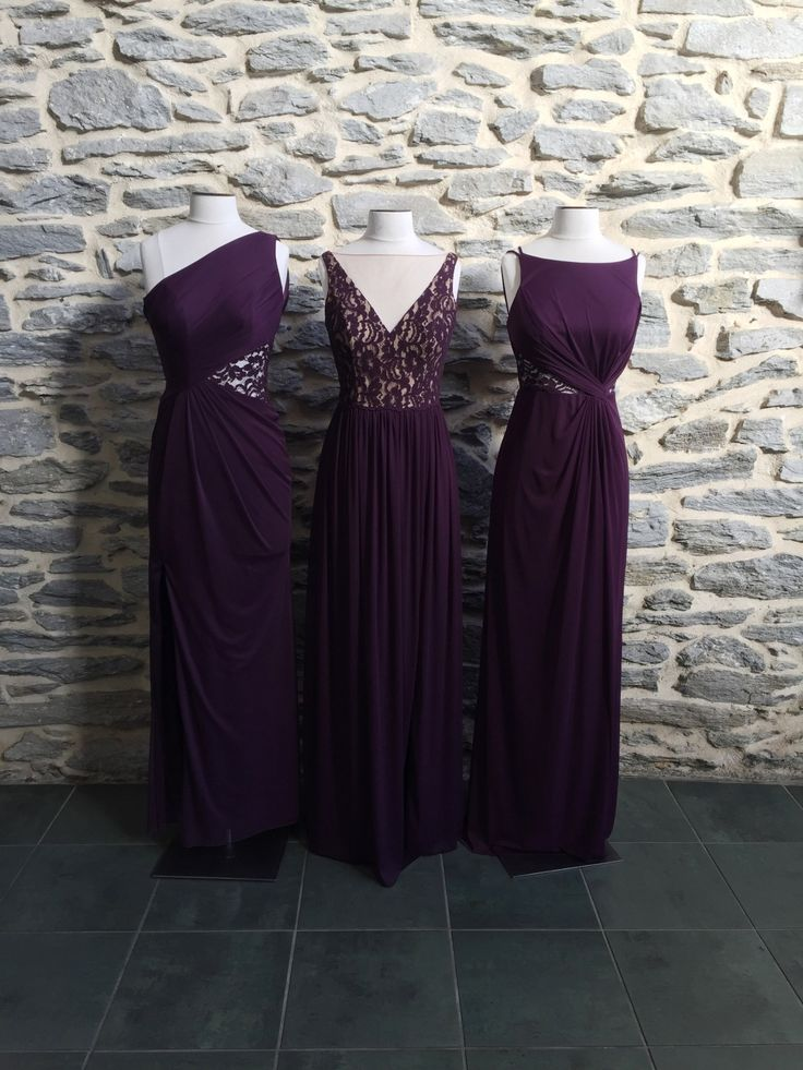 Pretty in plum! These new bridesmaid dresses available at David's Bridal will be beautiful down the aisle.