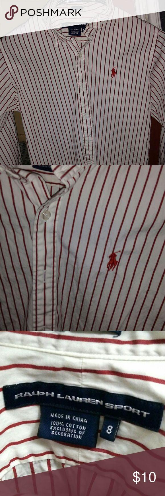 Women Ralph Lauren button up White with Red Pin Stripes Ralph Lauren Tops Button Down Shirts