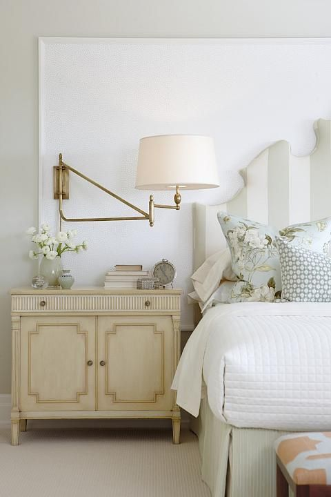 Sarah Richardson: Sarah's House (Season 4, Master bedroom)  I love the swing-arm wall lamp idea over a nightstand.