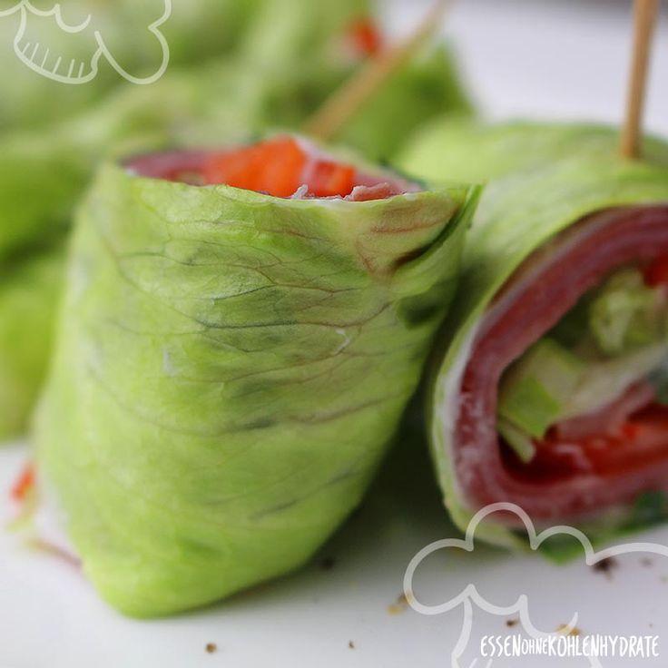 Low Carb Rezept für leckere gefüllte Salad-Rolls. Wenig Kohlenhydrate und einfach zum Nachkochen. Super für Diät/zum Abnehmen.