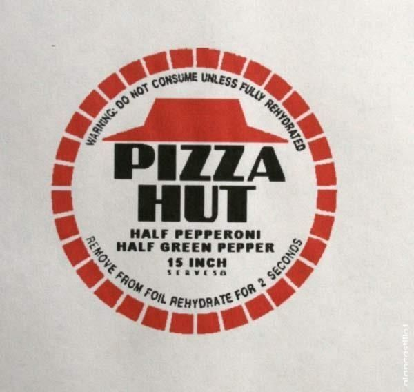 back+to+the+future+party | Back To The Future Dehydrated Pizza Wrapper | 21st BttF Party Inspira ...