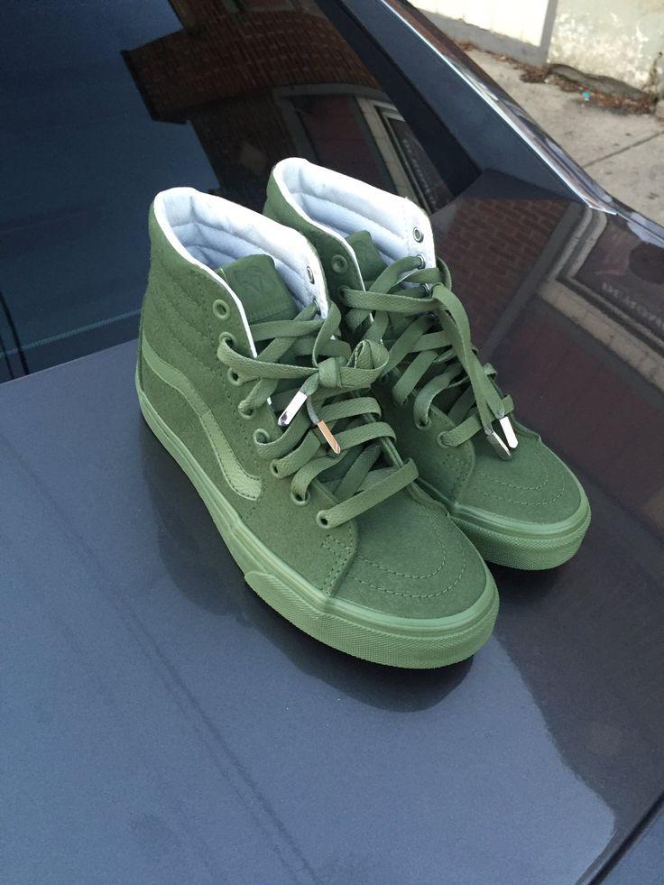 High top olive green vans