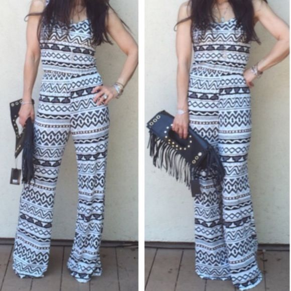 """""""FlASH SALE!""""FAB Aztec Jumpsuit! NWOT- Gorgeous, soooo comfortable jumpsuit. Use add to bundle feature and get 15% off 3 or  more items plus reduced shipping. ☺️ Tops"""
