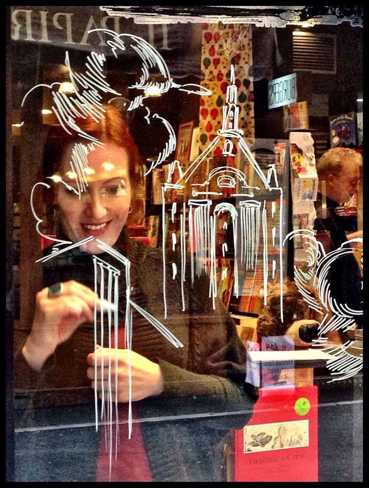 Elise Hurst (IMAGINE A CITY) transforming our window in Degraves St   July 2014
