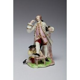 Gentleman and Shoeshine Boy (probably David Garrick). Bow Porcelain Factory C1751