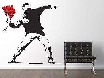 Large Banksy Throwing Flowers Wall Sticker Part 89