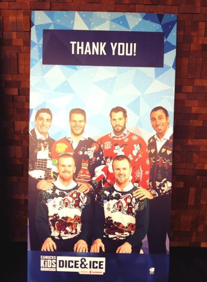 The Vancouver Canucks in their holiday sweaters