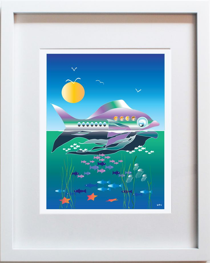 Fish Fun original artwork. Also available in a smaller 8x10in white frame on our website.