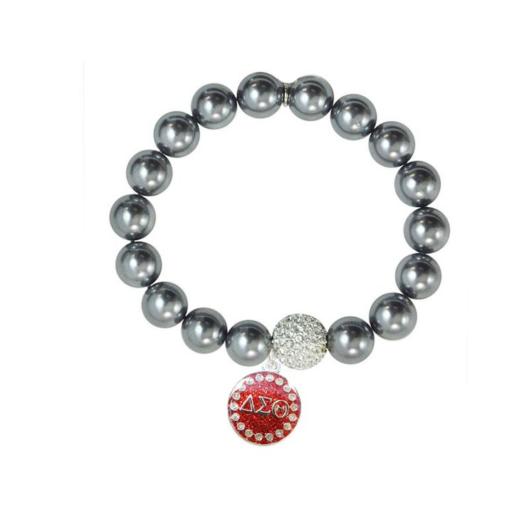 black pearl bracelet with silver delta sigma theta greek With greek letter bracelets