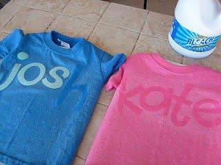 Put paper cut outs on the shirt, and spray the rest of the shirt lightly with bleach. When you remove the letters the name will stay darker. Pretty fun idea for a lot of different occasions.