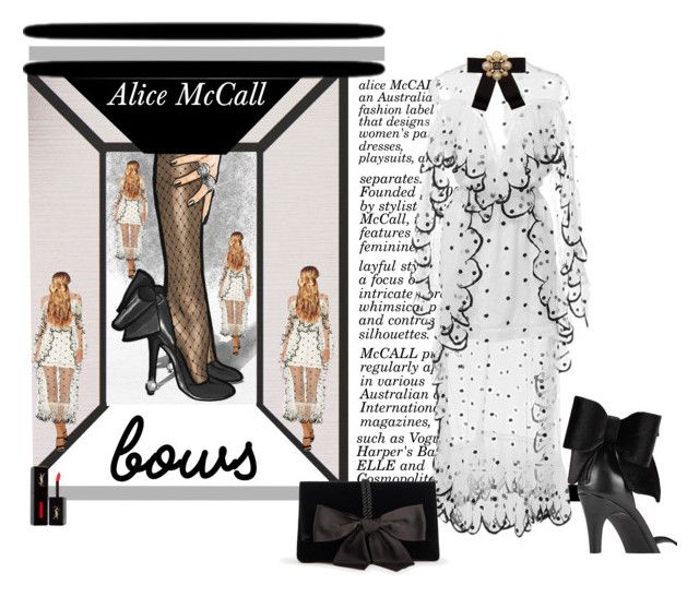 """... and he took a bow ☺"" by kapua-blume ❤ liked on Polyvore featuring Alice McCall, Oliver Gal Artist Co., Tasha, Miss Selfridge, Cara Accessories, Ann Taylor, Hershesons, Yves Saint Laurent and bows"