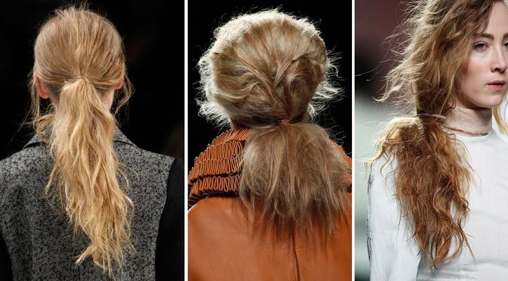 Tupera upp hela håret och använd gärna en volymgivande produkt som Osis Dust It puder som ger volym och mattar ner håret. Våga eller locka längderna och dra fingrarna genom håret för att sära på lockarna. Samla allt i en låg hästsvans.