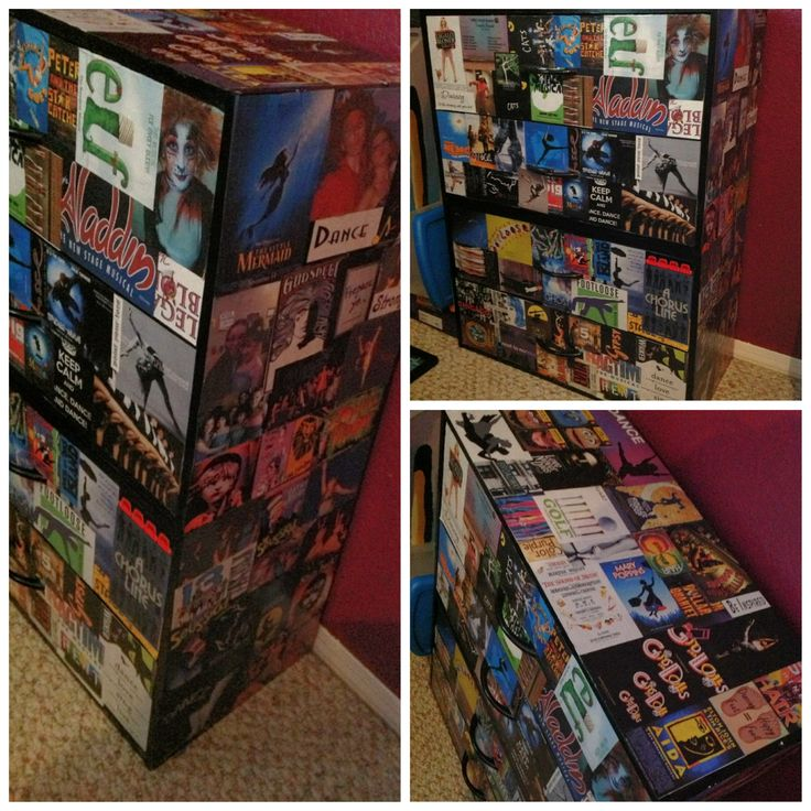 broadway themed decoupage dresser i spy with my little eye an adorable