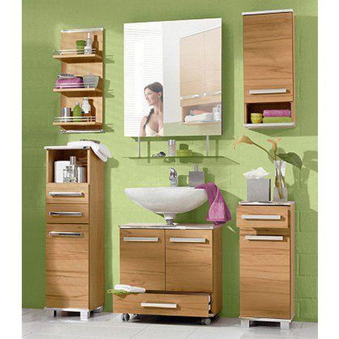 Ensemble salle de bain 2 meuble bas + 1 sous lavabo + 2 meubles à suspendre - Décor coeur de hêtre- Vue 1