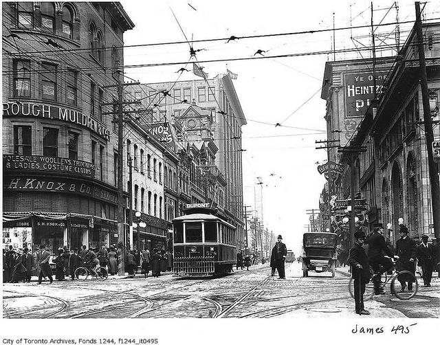 Yonge Street looking north from Queen Street    Photographer: William James  ca. 1915