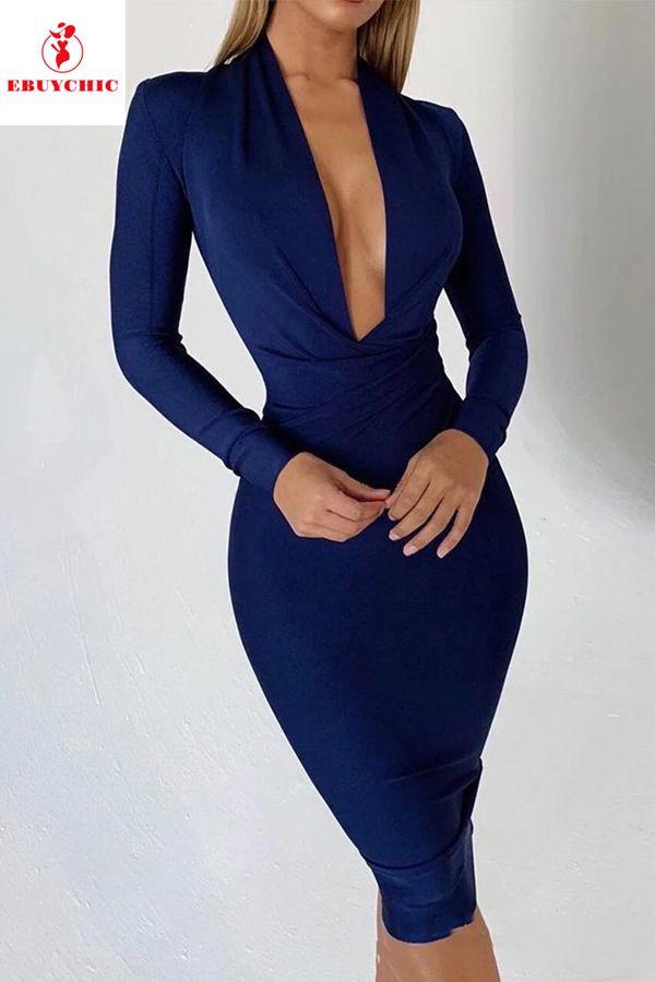 Fashion Deep V Pure Colour Slim Bodycon Dresses