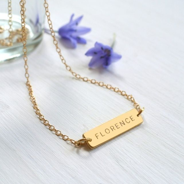 72a21b766 Personalised Gold Little Name Bar Necklace, Valentine's Day gift,  anniversary gi £35.00