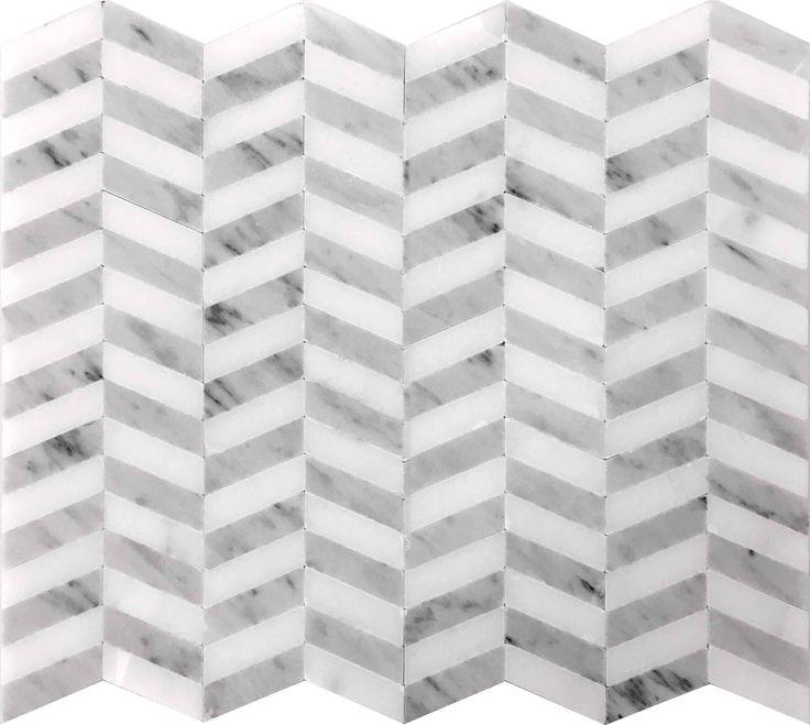 PENN QUARTER DC-H07  PENN QUARTER Eastern White / #Carrara Graygraywhite #mosaic #blackwhite #interiordesign #bathstyle #bathroom #bathroominspiration #tile #tilewalls #tilefloors #marblemosaic #marble