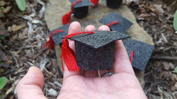 Mini graduation cap hair clip // tiny grad hat // mini glitter