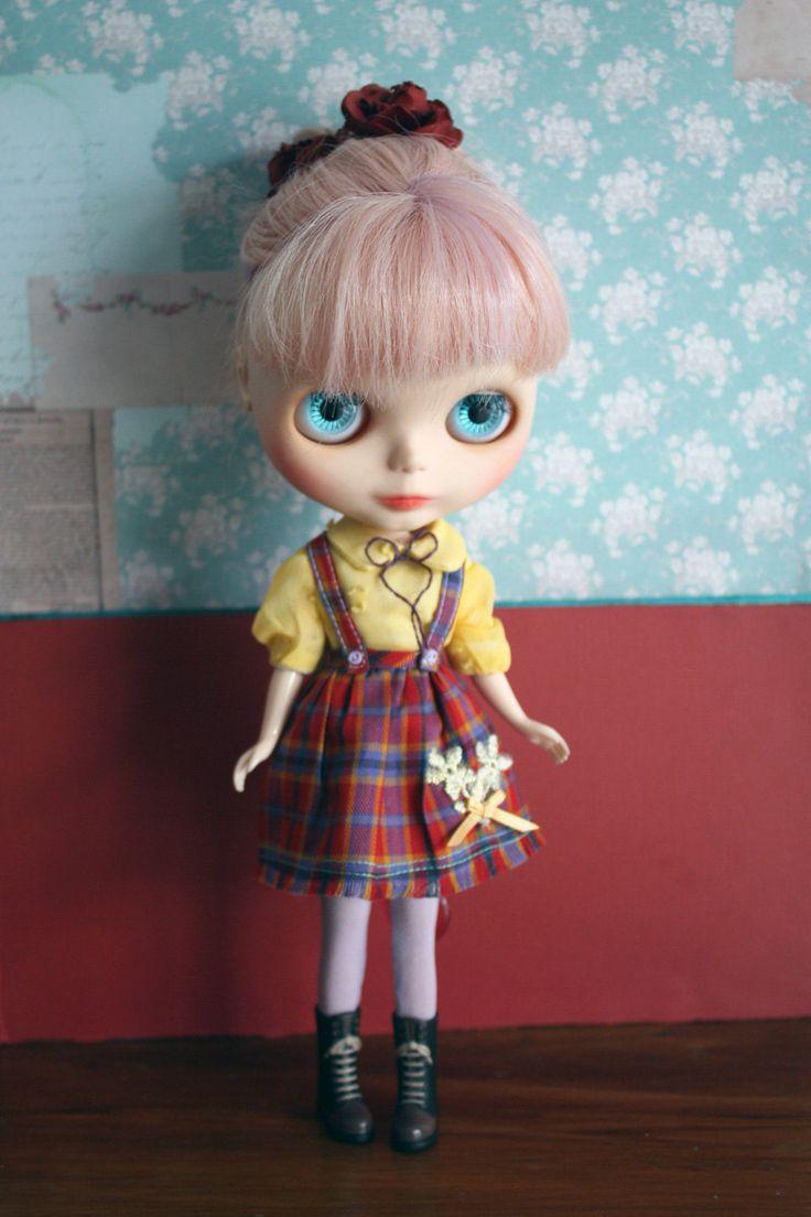 Blythe Vintage Cute Tartan Shirt and Skirt overall Set by cmondolly on Etsy