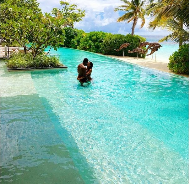 Kevin Hart & fiance Eniko Parrish luxury vacation at Coco Privé Kuda Hithi Island Maldives