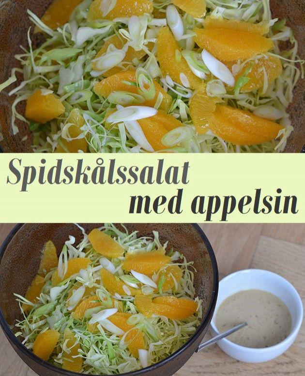 Skøn spidskålssalat med saftige og søde appelsiner samt en dejlig dressing med tahin og appelsinsaft.