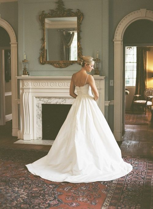 Simple wedding gown.