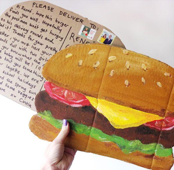 giant hamburger post card