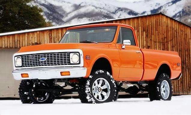 Orange Chevy pickup #classictruck - https://www.pinterest.com/dapoirier/4x4-and-trucks/