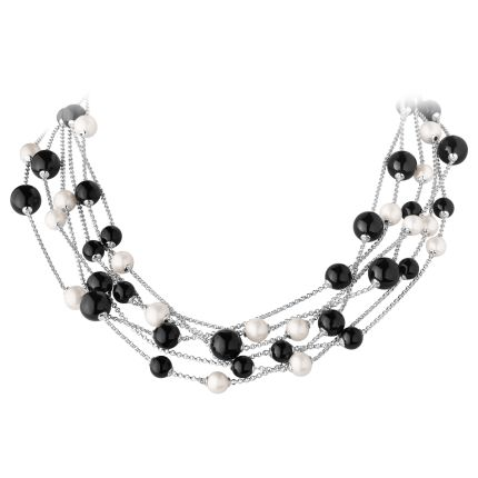 SPHERE necklace - sterling silver with black agate and white fresh water cultured pearls