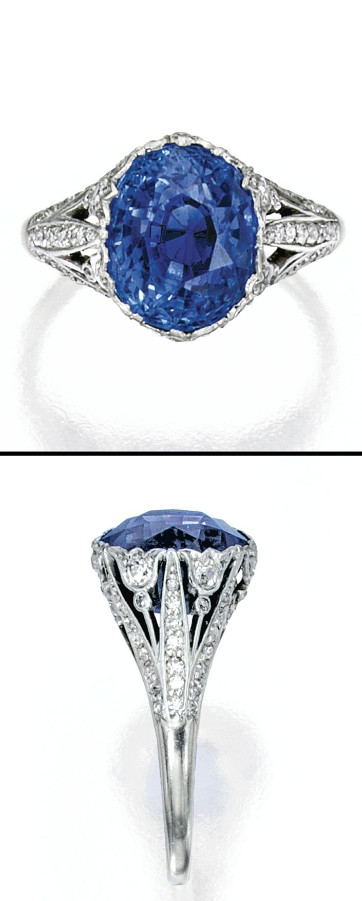 PLATINUM, SAPPHIRE AND DIAMOND RING, MARCUS & CO.  Centered by a cushion-cut sapphire weighing approximately 8.95 carats, within a floral mounting set with old European and single-cut diamonds weighing approximately .95 carat, size 6¾, signed M & Co, circa 1925.