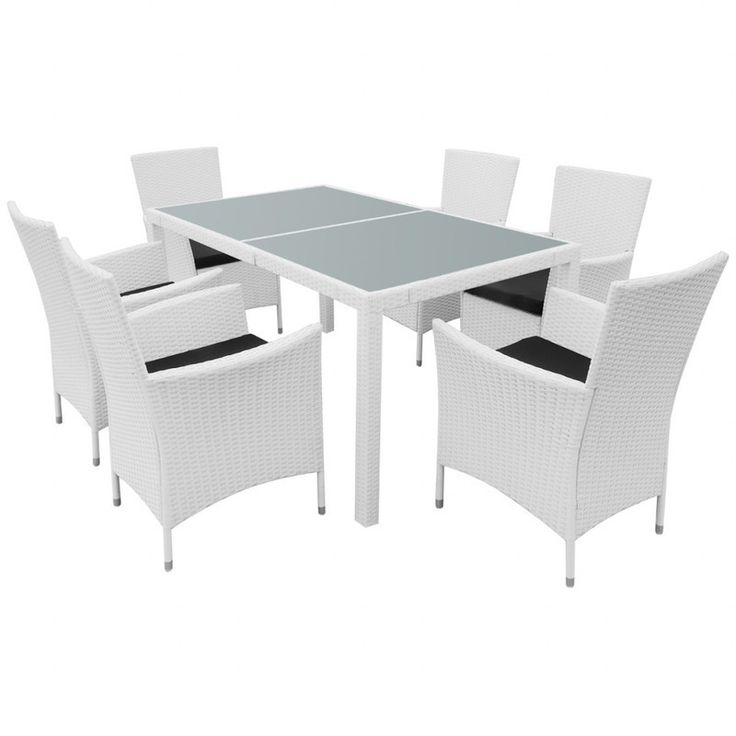 7pc Outdoor PE Rattan Dining Set w/ Cushions White   Buy Wicker Outdoor Furniture