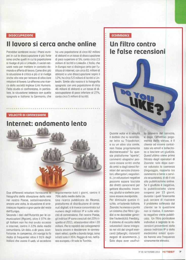 """""""Un filtro contro le false recensioni"""" - Altroconsumo, settembre 2013"""