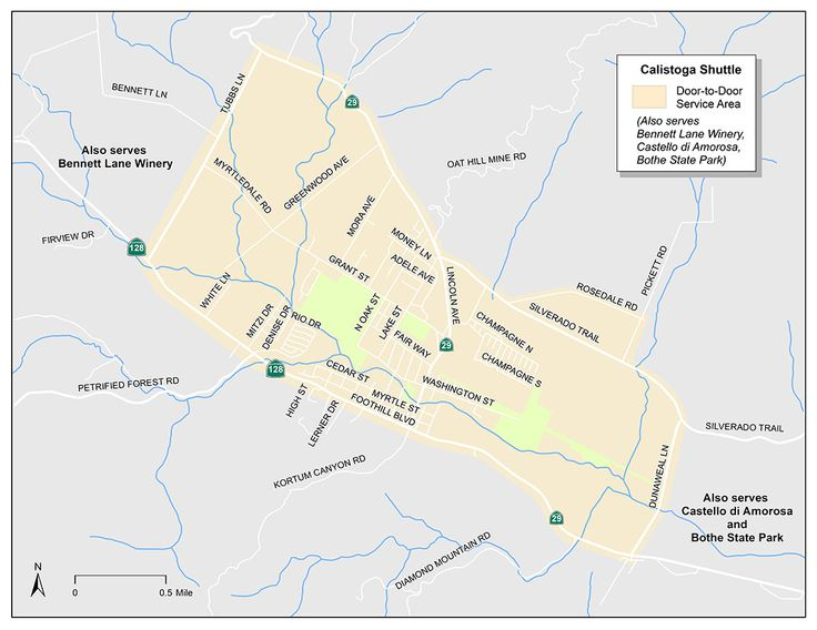 Calistoga shuttle route map (door-to-door) for vine transit route number 1