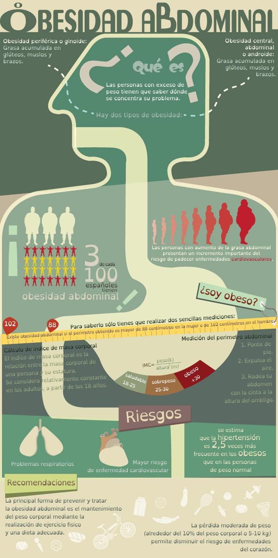 La obesidad abdominal y sus riesgos para la salud. #infografía #obesidad
