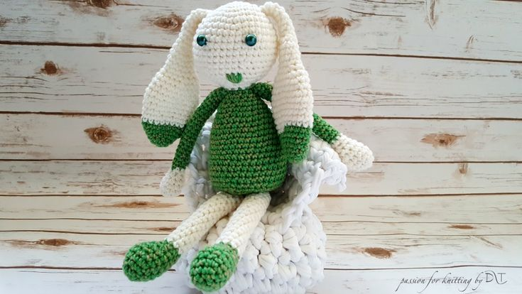 Crochet handmade green Bunny https://www.facebook.com/DLThandmade/ #crochetbunny made with love for a happy childhood #crochettoy #DLThandmade #passionforknitting