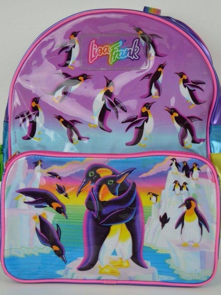 Lisa Frank Penguins Backpack School Book Bag Vintage 1990's SEE CONDITION #LisaFrank