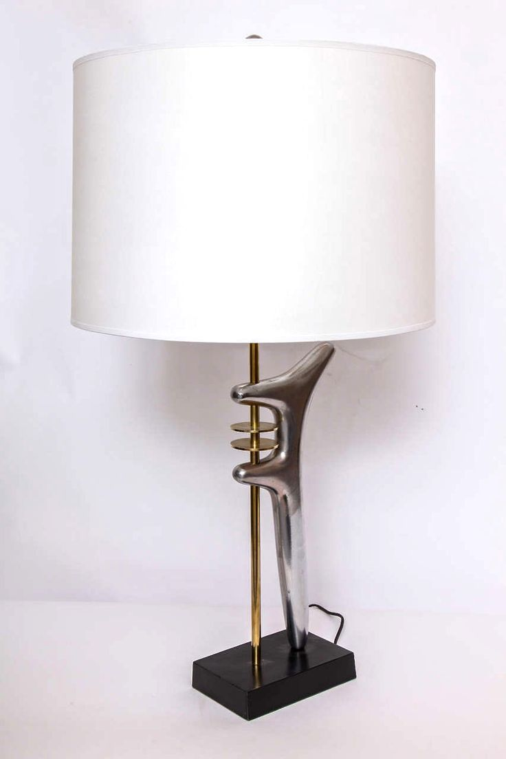 Isamu Noguchi; Aluminum and Brass Table Lamp, 1950s.