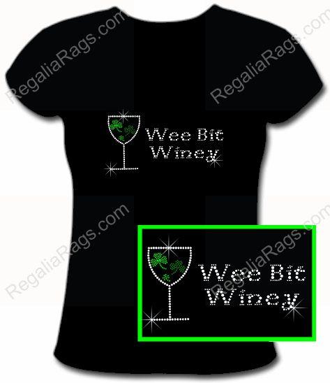 Wee Bit Winey Shamrock Wine Glass Irish Rhinestone Shirt for St. Patty's Day! http://www.regaliarags.com/WeeBitWiney.htm More Irish Rhinestone Tees here: http://www.regaliarags.com/irishrhinestoneshirts.htm