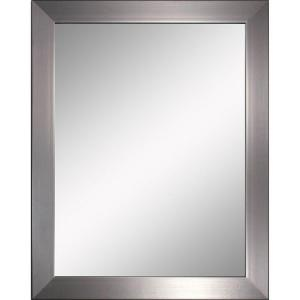 Deco mirror modern 26 in x 32 in mirror in brushed nickel brushed nickel for Bathroom mirrors brushed nickel