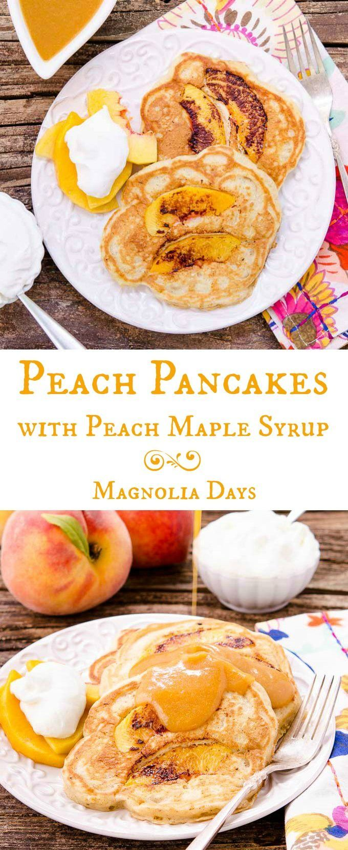 Peach Pancakes with Peach Maple Syrup are made with fresh peaches and a hint of spice. It's a delightful breakfast with summer fruit inside and out. #SundaySupper