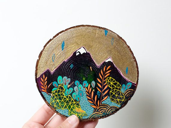Mini painting on cedar no. 22 by CathyMcMurray on Etsy
