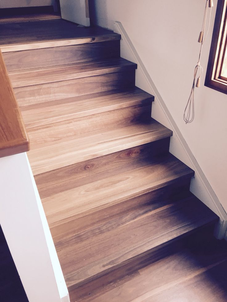 Spotted Gum Brushed Matt. Custom hand made stair system to match in with new floating floor. Supplied & installed by www.mytimber.com.au