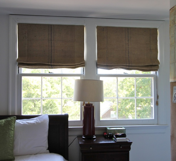 burlap roman shades: Moore Window, Custom Beds, Coffee Sacks, Coff Sacks, Master Bedrooms, Window Treatments, Camil Moore, Eclectic Bedrooms, Burlap Romans Shades