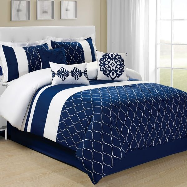 7 Piece Malibu Wave Embroidery Comforter Set Queen King Calking Size In Burgundy Navy Blue Color Comforter Sets Navy Blue Bedding Blue Bedding