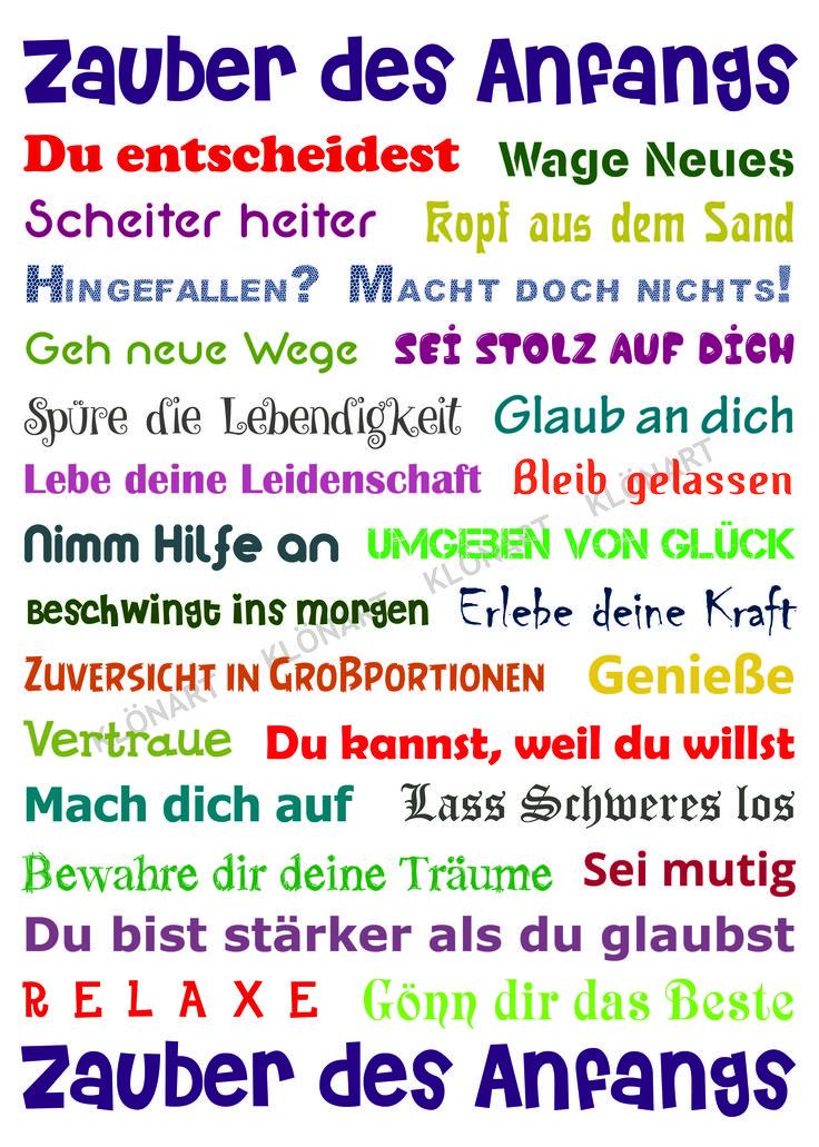 KLÖNART - Kartenkunst und mehr Postkarte  Buchstaben + Worte ZAUBER DES ANFANGS www.kloenart.de kontakt@kloenart.de www.facebook.com/kloenar