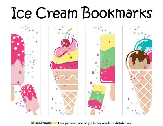 Free printable ice cream bookmarks. Download the PDF template at http://bookmarkbee.com/bookmark/ice-cream/