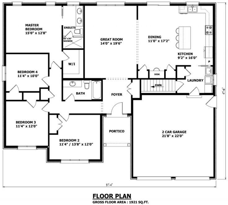 "1921 sq ft , 57' 4"" W x 47'6"" D - The Edmonton Bungalow House Plan - 4 bedrooms - Canadian Home Designs - Kitchen/Eating 9'2 x 16' / 11' x 17'2. Needs a few more rooms"