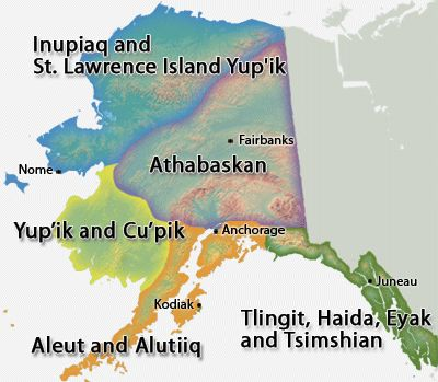 Alaska has five different Native groups, each with a distinct culture. Alaska Native Map
